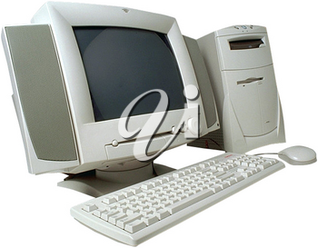Royalty Free Photo of a Computer with a Keyboard and Monitor