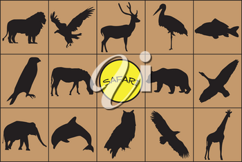 Silhouettes of wild animals with symbol.