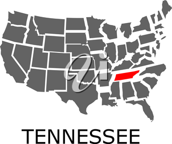 Bordering geographical map of USA with State of Tennessee marked with red color.