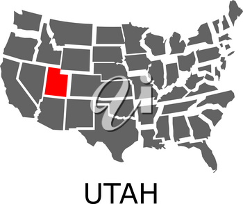 Bordering map of USA with State of Utah marked with red color.