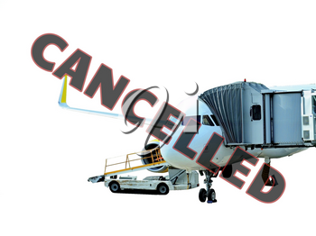 Plane at gate marked with cancelled sign waiting for passengers boarding. According to currently cancelled flights due to coronavir. Isolated on white background.