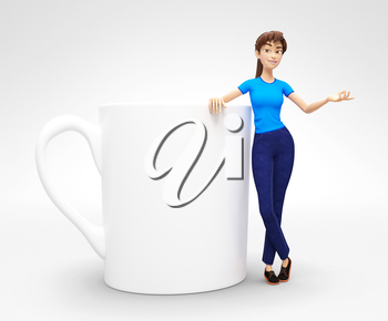 3D Rendered Product Mockup with Animated Character in Casual Clothes, Isolated on White Spotlight Background for Web, Presentation, Banner or Advertisement