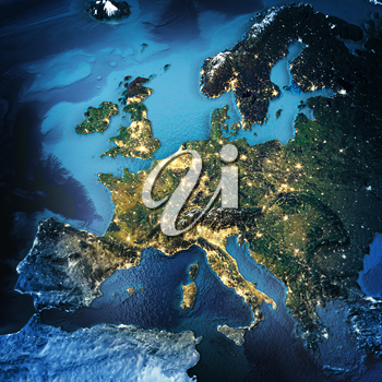 Europe. Elements of this image furnished by NASA. 3D rendering