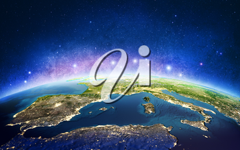 Europe from space galaxy stars. Elements of this image furnished by NASA. 3D rendering