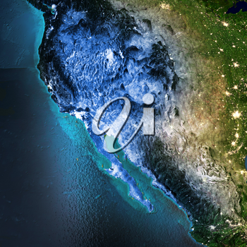 California, North America, Mexico, USA. Elements of this image furnished by NASA. 3D rendering