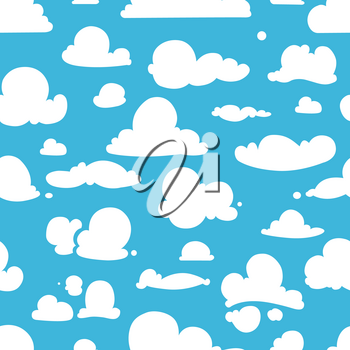 Different vector clouds on blue sky. Seamless pattern in cartoon style. Sky with white clouds, illustration of nature cartoon sky