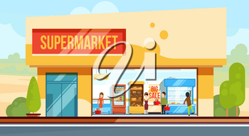 Supermarket in front view with shopping people in checkout line. Seller assistants. Vector illustration in flat style. Building exterior supermarket, showcase super market grocery