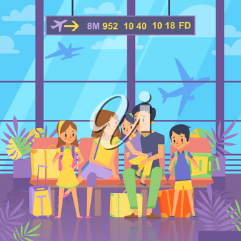 People goes to vacation. Sitting in airport terminal. Happy family couple with kids and baggage. Vector illustration. Family waiting in terminal with baggage, passenger family with kids in airport