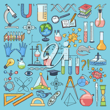 Colored items of science biology and chemical. Vector hand drawn illustrations. Equipment for laboratory flask and microscope for experiment and test