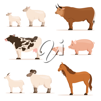 Animals on farm. Lamb, piglet, cow and sheep, goat. Vector set in cartoon style. Illustration of pig and cow, goat and farm sheep