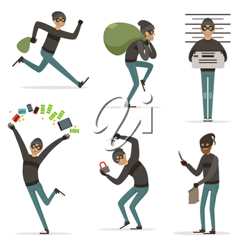 Different actions scenes with cartoon bandit. Vector mascot of thief in action poses. Illustrations of robbery or raid, , crime character theft with money