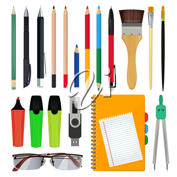 Office stationery or school equipment. Vector illustrations of brush and paper, folders and pencils. Officeand school equipment stationery