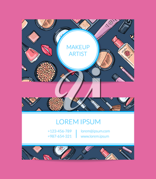 Vector business card template for beauty brand or makeup artist with hand drawn makeup background, framed circle and rectangle with shadows illustration