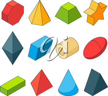 Colorful isometric pictures of geometry shapes. Christal, cylinder, prism and others. Color cylinder and geometry pyramid, geometric cone and sphere, vector illustration