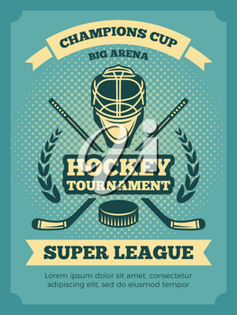 Vector vintage poster of hockey championships. Banner hockey game, competition tournament illustration