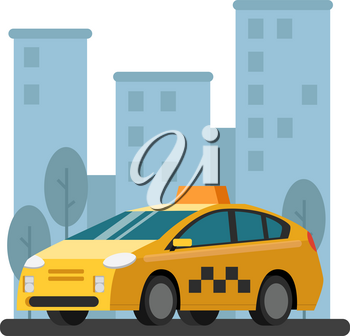 Illustrations of taxi car. Vector picture in flat style. Taxi car cab, urban public transportation