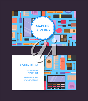 Vector business card template for beauty brand or makeup artist with flat style makeup and skincare and circle and square with stripes and shadows illustration