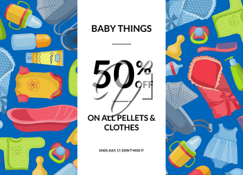 Vector horizontal baby clothes and accessories sale illustration with vertical rectangle in center