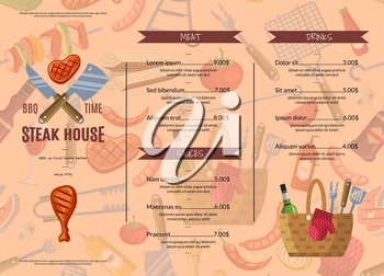 Vector barbecue, grill, or steak house horizontal menu template illustration