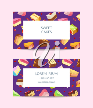Vector confectionary, cooking lessons or pastry shop business card template illustration