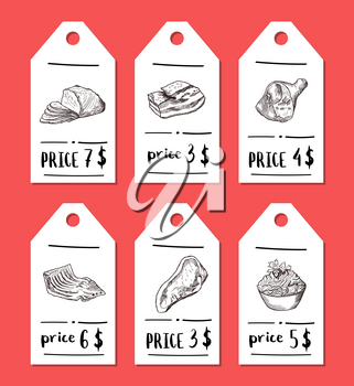 Vector tags with hand drawn monochrome meat elements. Food tag meat vintage drawing illustration