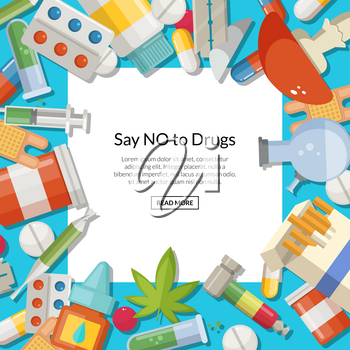 Vector drugs types background with white square and place for text. Drug medical and addiction pill and tablet illustration