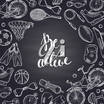 Vector hand drawn sports equipment contoured on chalkboard illustration. Sport chalkboard and fitness elements on blackboard