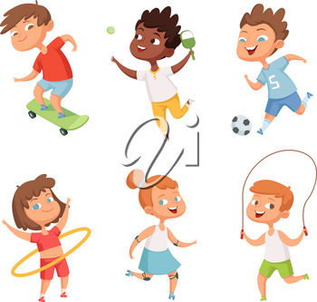 Various kids in active sports. Vector characters isolate on white background. Illustration of sport boy and girl, kids skipping rope, playing ball