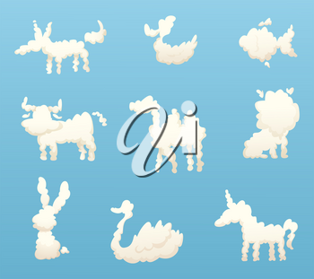 Shapes of animal clouds. Different funny cartoon clouds. Vector animal cloud in sky, fluffy silhouette bunny and unicorn illustration