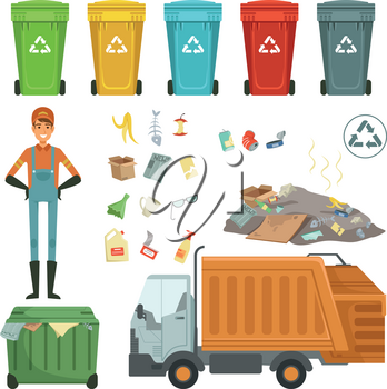 Plastic containers for different trashes. Vector illustration of garbage harvester and dustman. Color container for garbage and trash, rubbish and dustbin