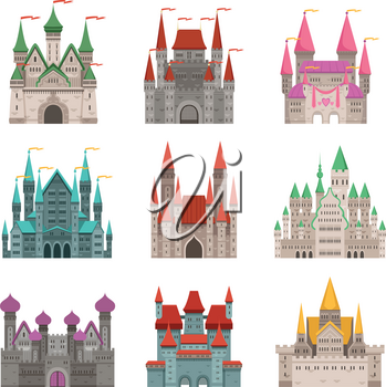 Fairytale old medieval castles or palaces with towers. Vector pictures in cartoon style. Tower castle building and fortress, architecture palace illustration