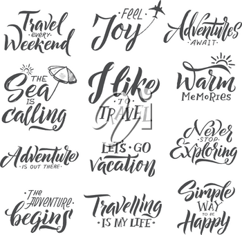 Typography hand writing set. Motivation words and phrase for travelers. Motivation phrase for holiday, text travel weekend. Vector illustration