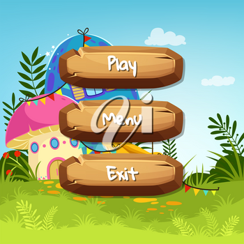Vector cartoon style wooden buttons with text for game design on fairytale mushroom houses background. Game interface button with house mushroom fairytale illustration