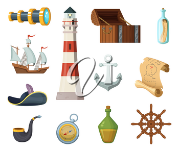 Marine vector objects. Chest, compass, treasure map and other objects in cartoon style. Bottle of rum, anchor and tube, map and spyglass illustration