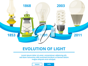Infographic illustrations with different lamps. Evolution of light. Energy power light bulb and innovation progress vector