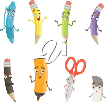 Cartoon characters of different drawing tools. Pencils, pen and others. School instrument pen with face, vector illustration