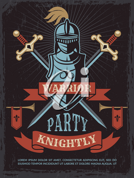 Poster with illustrations of medieval warrior helmet and swords. Weapon and armor knight, history party in ancient warrior style vector