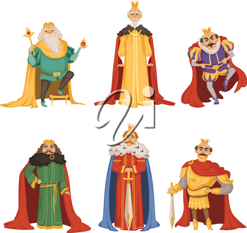 Cartoon characters of big king in different poses. Collection of king character, medieval person lord and monarch with crown. Vector illustration
