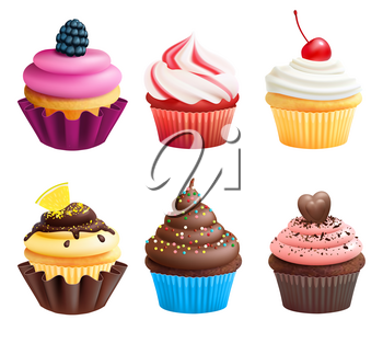 Realistic vector illustrations of cupcakes. Sweets for birthday party. Sweet dessert food and birthday yummy cupcake of set