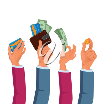 Hands of male and female holding dollars and coins. Vector hand with coin dollar, investment cash in human arm illustration