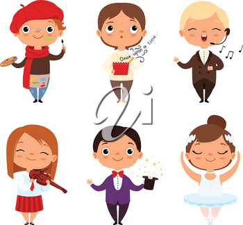 Cartoon illustrations of various creative kids. Different professions. Child artist, ballerina singer and magician vector