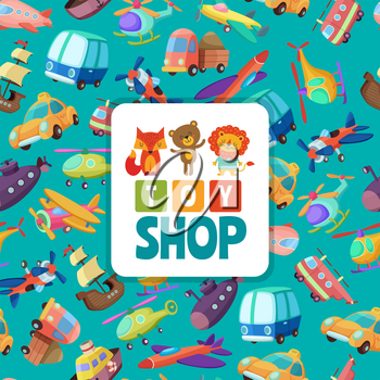 Seamless pattern with illustrations of different toys transport, car and ship, helicopter and submarine vector
