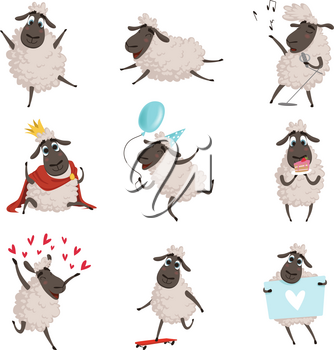 Cartoon farm animals. Sheep playing and making different actions. Vector characters set isolate on white. Animal farm play illustration