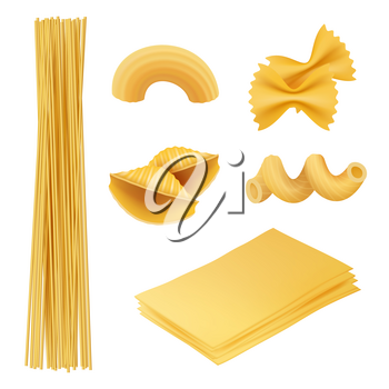 Pasta realistic. Italian food farfalle fusilli macaroni cook ingredients vector pictures of traditional cuisine. Italian cuisine, food macaroni, fusilli and penne illustration