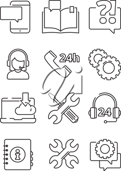 Customer service help icon. Office web or online and telephone support center admin vector linear symbols isolated. Illustration of help service, support info center for customer