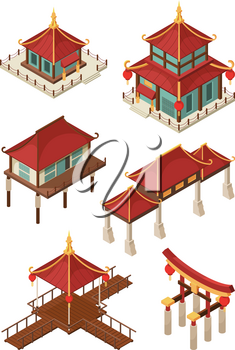 Asian architecture isometric. Traditional chinese and japan houses buildings roof vector 3d illustrations. Japan and chinese building, pagoda architecture, house and bridge illustration