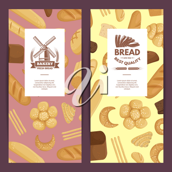 Banner and poster vector cartoon bakery elements flyer templates illustration