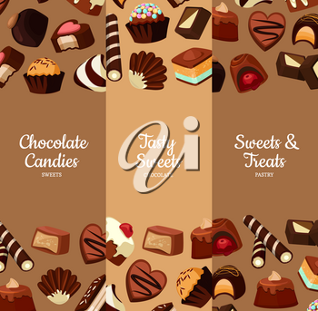 Vector vertical web banners or poster illustration with cartoon chocolate candies