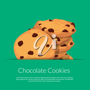 Vector chocolate cookies in paper pocket with place for text illustration