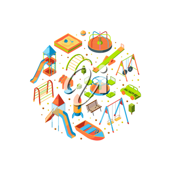 Vector isometric playground objects in circle shape illustration isolated on white